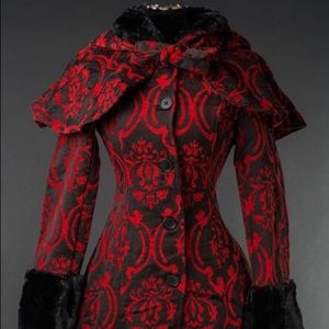 Jackets & Blazers - NEW Dracula Clothing Red Brocade Thick Winter Coat